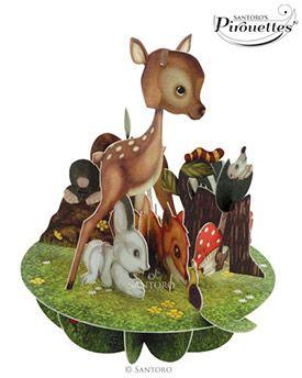 Cute Baby Animals 3D Pirouette | Pop up Card | Santoro