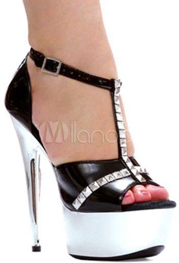 #Milanoo.com Ltd          #Sexy Sandals             #Black #Patent #Rivet #Peep #Women's #Sexy #Sandals                           Black Patent PU Rivet Peep Toe Women's Sexy Sandals                           http://www.snaproduct.com/product.aspx?PID=5730805