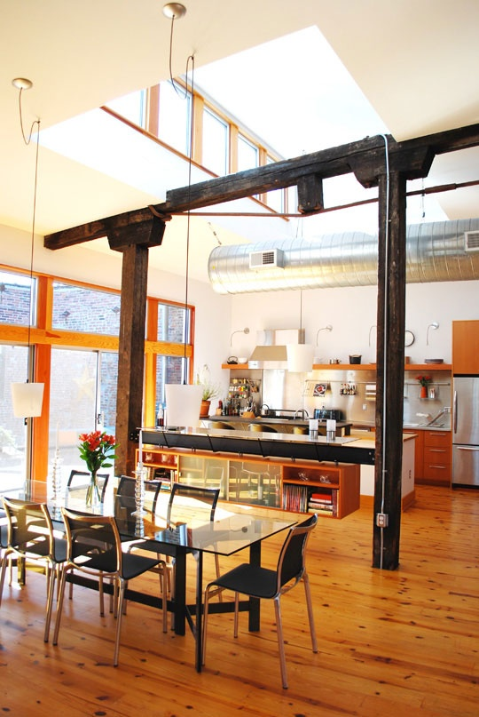Soaring Ceiling & Skylights in the Kitchen Roomarks
