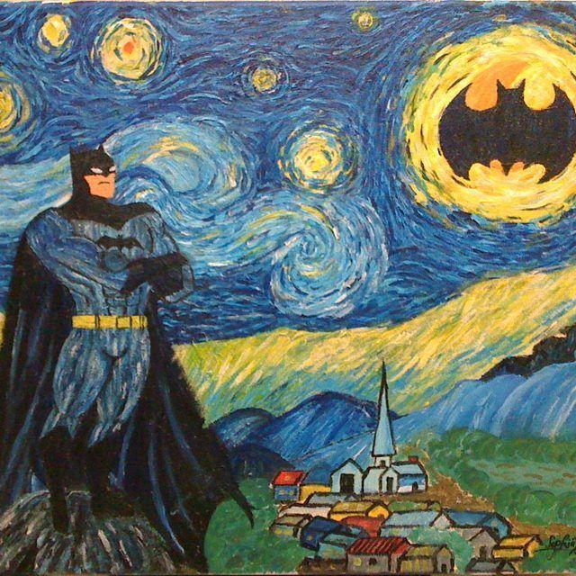 Не могла пройти мимо. Love #van_Gogh #unknownauthor #Batman #art