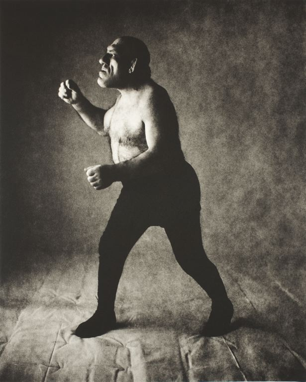 Maurice Tillet at a photo shoot with Irving Penn. 1946