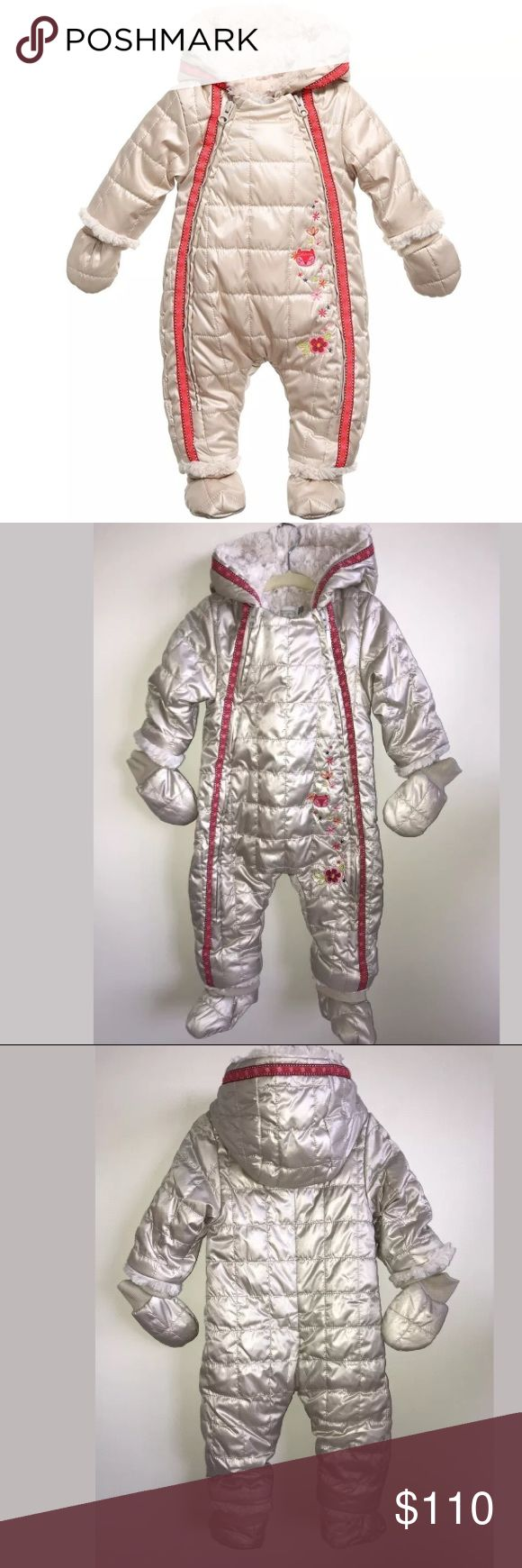 NWT Catimini snow suit baby 9 month shiny puffer New with tag Catimini Spirit snow suit size 9 month. Shiny metallic full suit with feet and gloves and hood. Soft fur lined. Bought at SAKS, never used still w tags. Catimini Jackets & Coats Puffers