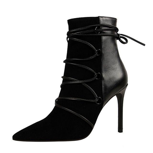 Botines Para Mujer de Invierno Botas Chelsea 10 cm Del Alto talón Atractivo del Club Nocturno Hechizo Color Cruz Puntada Botas Zapatos DS-A0137