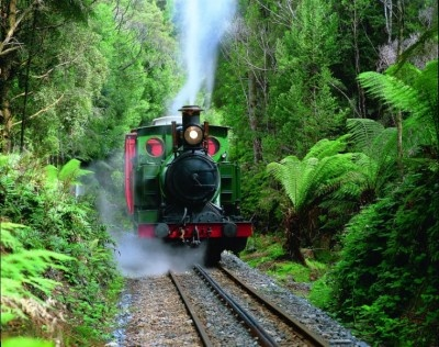 West Coast Wilderness Railway from Strahan to Queenstown.  Article by Mike Fry.