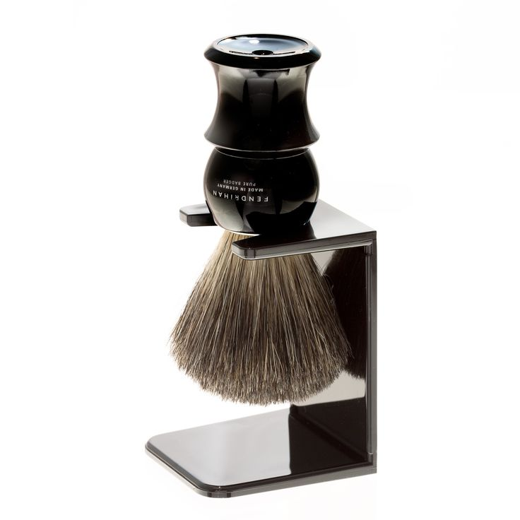 Fendrihan Pure Badger Shaving Brush with Stand, Black Handle