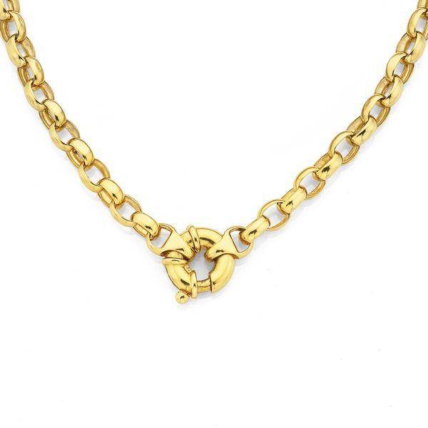 9ct Gold 50cm Belcher Bolt Ring Necklace