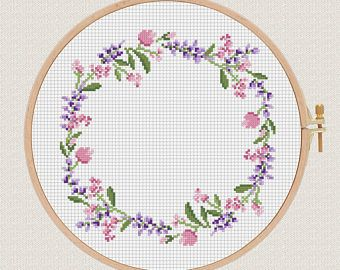 flowers cross stitch pattern Lavender Helleborus floral wreath cross stitch Round cross stitch pillow Counted cross stitch modern diy gift