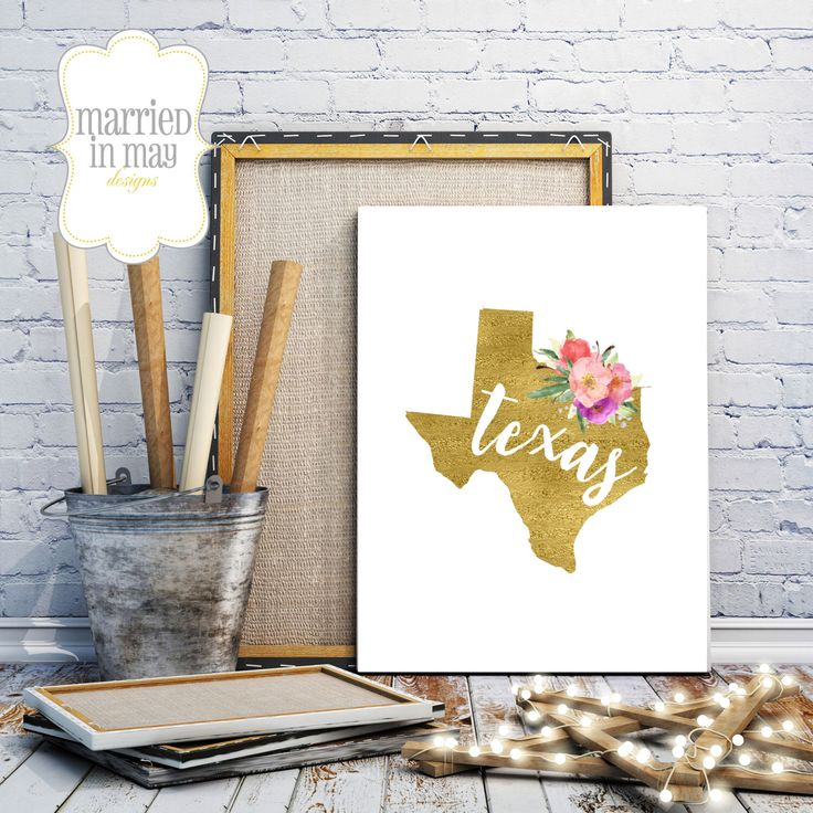 Texas Wall Art Printable Sign // Digital Gold Foil Decor // State Map  Gallery
