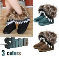 Wish | Fashion Women's Autumn Winter Snow Boots Ankle Boots Warm Synthetic Fur Shoes