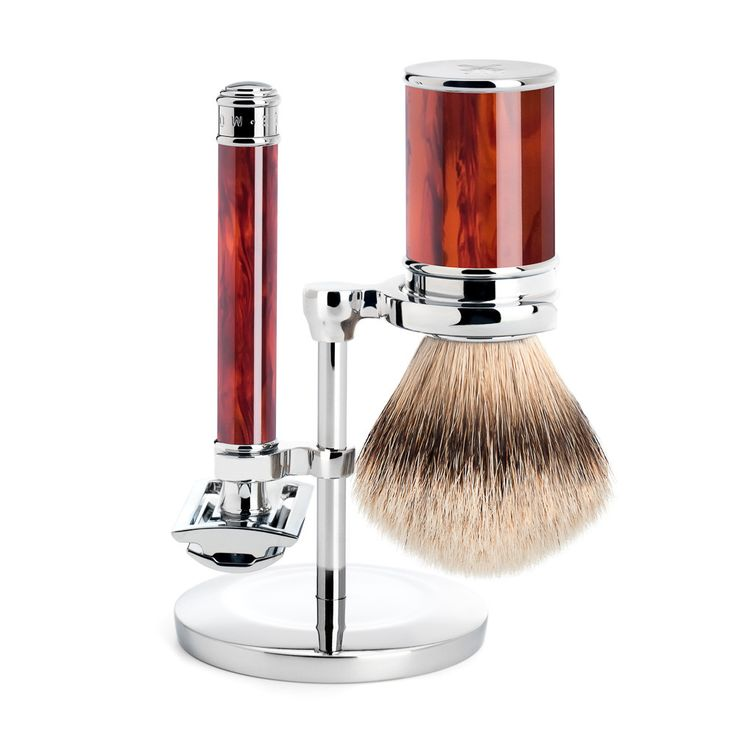 Muhle Traditional 3-Piece Shaving Set with Safety Razor and Silvertip Badger Brush, Faux Tortoise