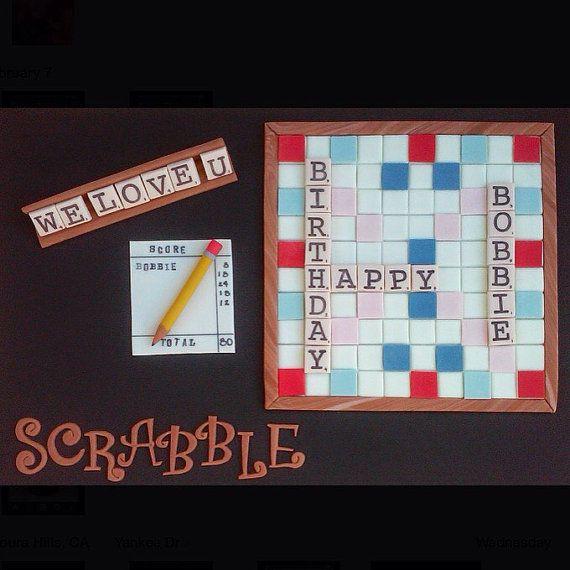 Fondant Scrabble Cake Set by XbakesbyXimena on Etsy