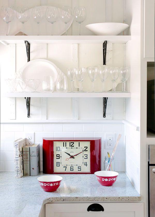 shabby chic kitchen lighting. midcentury metro clock in a shabby chic kitchen red white lighting