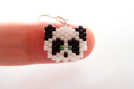 Cute Panda Earrings Sterling Silver Ear Wires, Peyote Stitch
