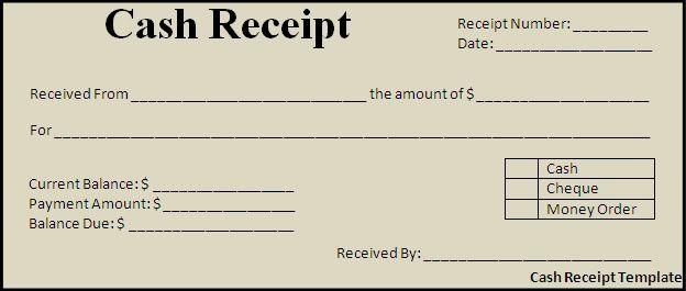 Cash Payment Receipt Template Free | Cash Receipt Template ...