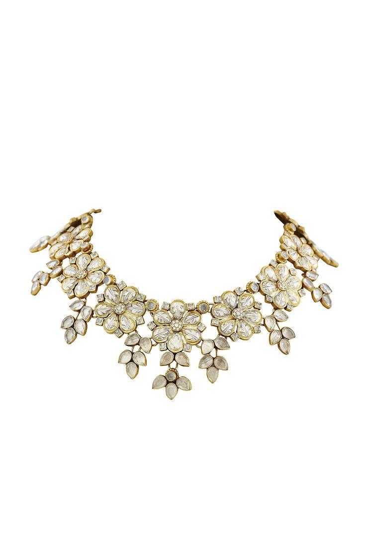 Gota Patti Crystal Flower Neckpiece