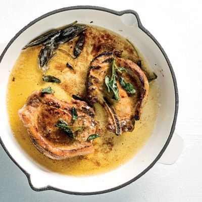 Taste Mag | Perfectly fried pork chops with burnt sage butter @ https://taste.co.za/recipes/perfectly-fried-pork-chops-burnt-sage-butter/