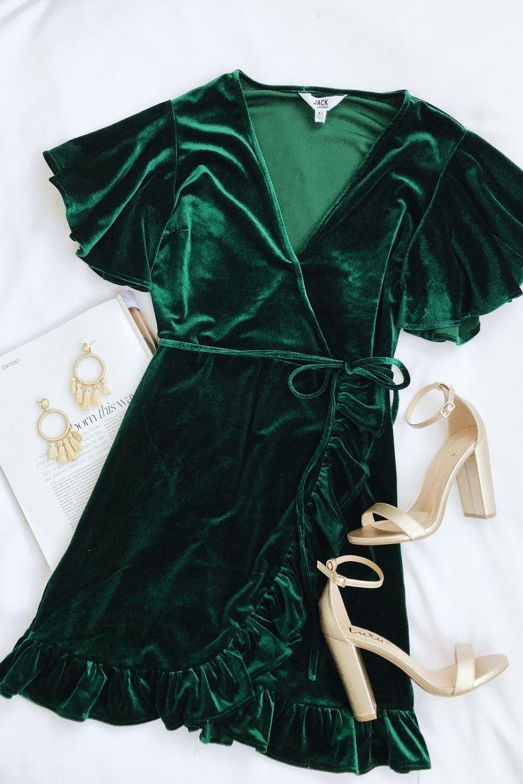 706e680def  lovelulus beautiful rich deep forest hunter green wrap velvet short sleeve  dress metallic gold chunky heel shoes what to wear to Christmas mass  holiday ...