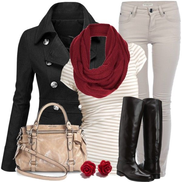 Cute outfit! Grey and white striped shirt, red scarf, black coat/blazer/cardi and grey jeans.
