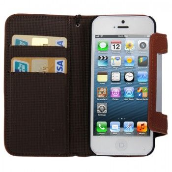 2in1 Leather Litchi Texture Case for iPhone 5 - Brown