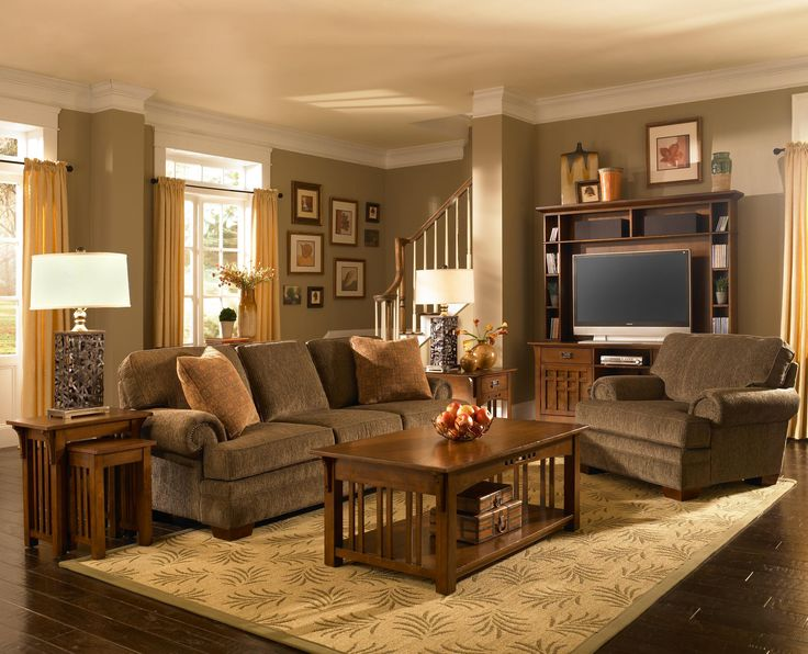 Broyhill Furniture Artisan Ridge Living Room Collection featuring single drawer end table nesting