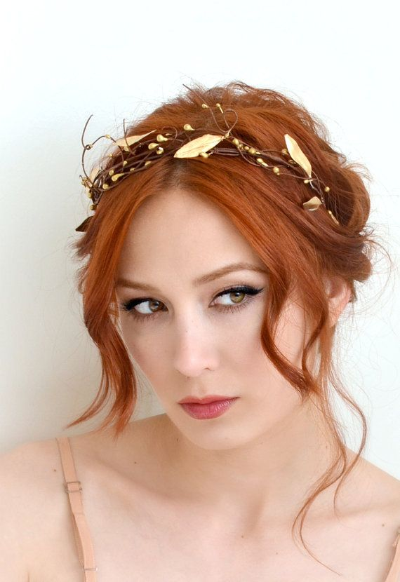 Leaf crown, golden bridal crown, grecian goddess head piece, wedding headband, bridal hair accessory on Etsy, $30.00