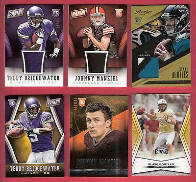 JOHNNY MANZIEL & TEDDY BRIDGEWATER 3 ROOKIE JERSEY & 3 RC CARDS BLAKE BORTLES