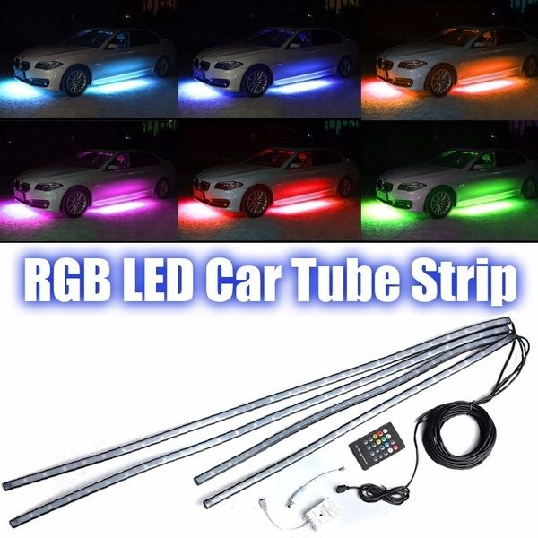 Undercar Underbody Neon LED Lights Kit for Cars SUV Waterproof Sound Active RGB 4 Pieces with Wireless Touch Remote Control LED Strip Tubes Exterior Underglow Lights for Cars