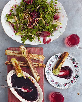 Jamie Oliver's 15 Minute Meals- Camembert parcels, autumn salad & cranberry dip