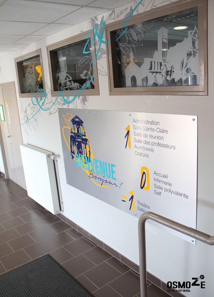 Signalétique intérieure artistique collège et lycée st françois paris façade