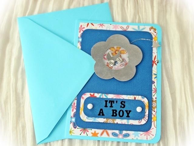"""Fröhliche Karte im Format C6 zur Geburt eines Jungen mit Schriftzug """"It's a boy"""" Die Karte wird mit einem passenden hellblauen Umschlag geliefert."""