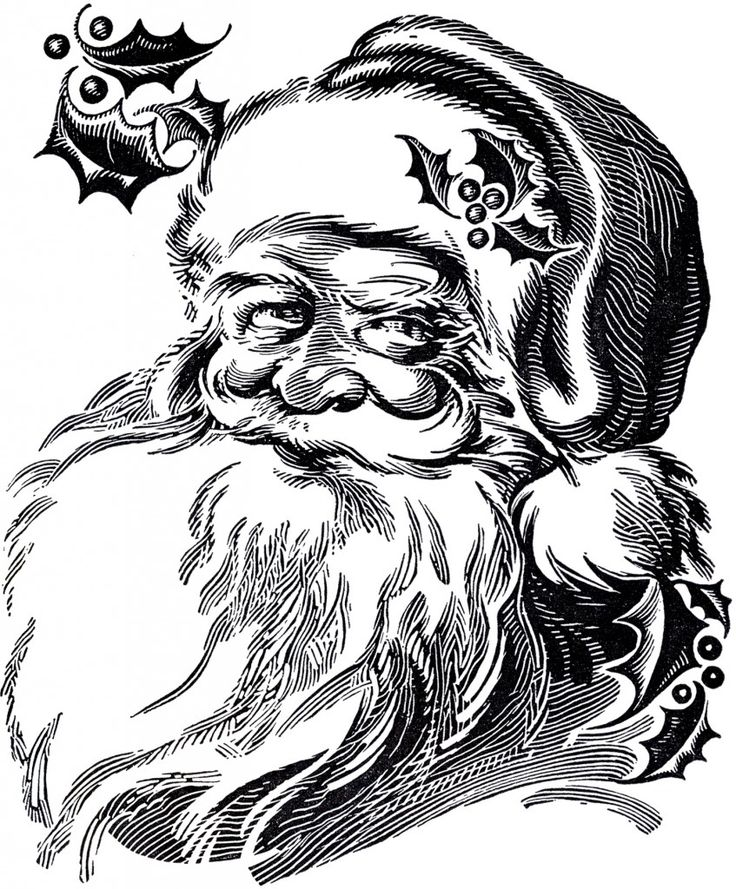 Beautiful Santa Drawing! | Shown above is a wonderful Black and White Illustration of a Santa, with his long white Beard and bits of Holly all around him! This one was scanned from a recent addition to my collection, an old Circa 1941 Printer's Catalog. The Catalog does not appear to have ever been copyrighted, as there is no copyright mark on it.