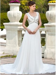A-Line/Princess Sweetheart Chapel Train Chiffon Wedding Dress With Ruffle Beading (002011673) - JJsHouse