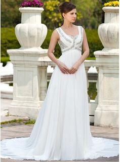 A-Line/Princess Sweetheart Chapel Train Chiffon Wedding Dress With Ruffle Beading (002011673) - JJsHouse