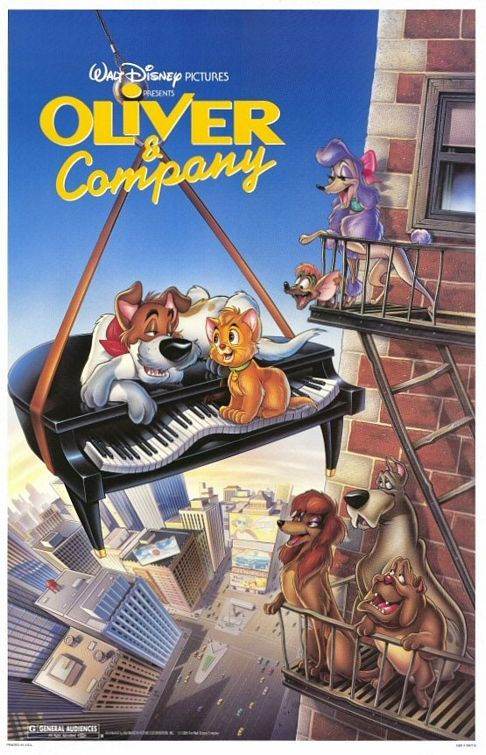 "Original poster from the theatrical release of Oliver & Company in 1988. It was the final movie released before the ten year period considered ""The Disney Renaissance."""