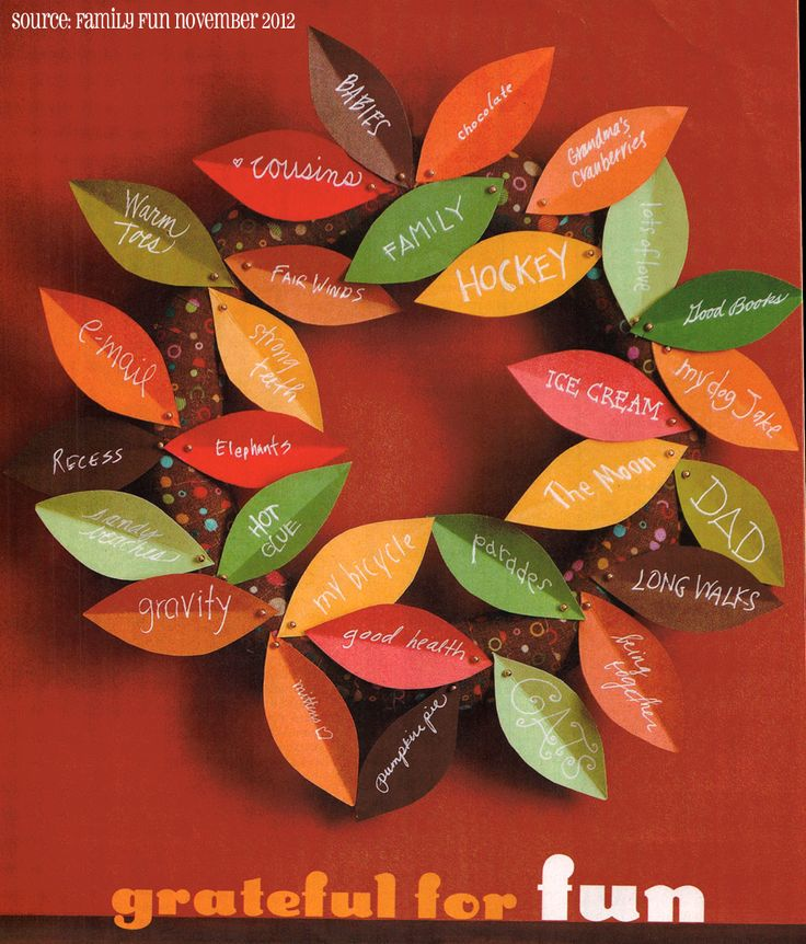 Invite Thanksgiving guests to write things they are thankful for on a leaf and pin the leaves on a wreath.