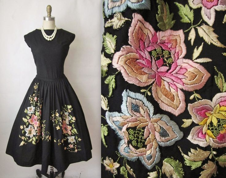 1950s .the floral embroidery has been hand-appliqued onto the skirt--it's not embroidered into the fabric.