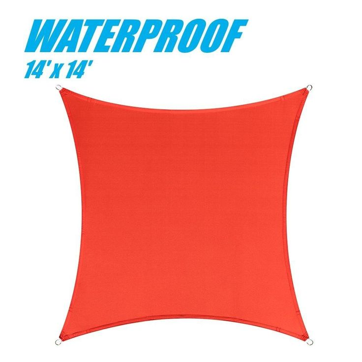 100% BLOCKAGE Waterproof 14' x 14' Sun Shade Sail Canopy Square Red