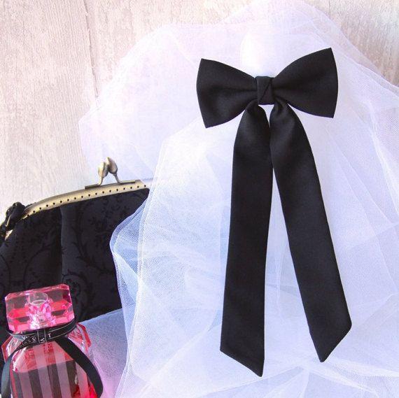 Black Slim Brooch Women's Bow Tie Genuine New by VaniaSzaszBows