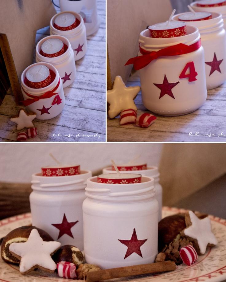 DIY Candle / Adventslichter / Windlichter Sterne / Stars  http://kukuwaja.blogspot.de/2012/11/diy-adventslichter-stars.html
