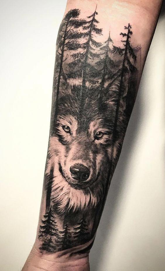 фото тату волк в лесу прямо скажем