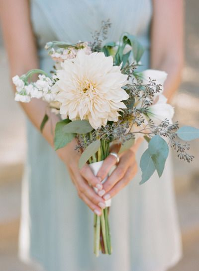 Dahlia and eucalyptus: http://www.stylemepretty.com/california-weddings/santa-barbara/2015/06/16/organic-classical-condor-ridge-ranch-wedding/ | Photography: Josh Gruetzmacher - http://www.joshgruetzmacher.com/