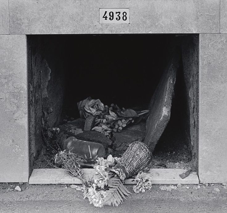 "JOHN GUTMANN  1905 - 1998  ""4938"" Burial Vault Broken In, Barcelona  Date:	1989  Credit Line:	John Gutmann Archive, Rights and Reproductions  Accession #:	2000.124.16  Medium:	Gelatin silver print  Dimensions:	Overall, Primary Support: 14 x 11 in. (35.6 x 27.9 cm) Image: 10 13/16 x 10 3/16 in. (27.5 x 25.9 cm)  Description:	[fern, flowers and vase spilling out of rectangular opening with ""4938"" plaque above]  Associated place:	Spain, Barcelona"