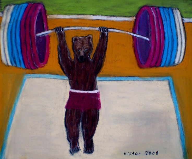 Tyngdlyftning, pastell på papper. Nalle lifts weights, pastel on paper.
