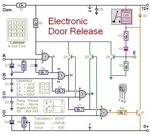 Circuit Diagram For A Keypad Operated Door Release Switch