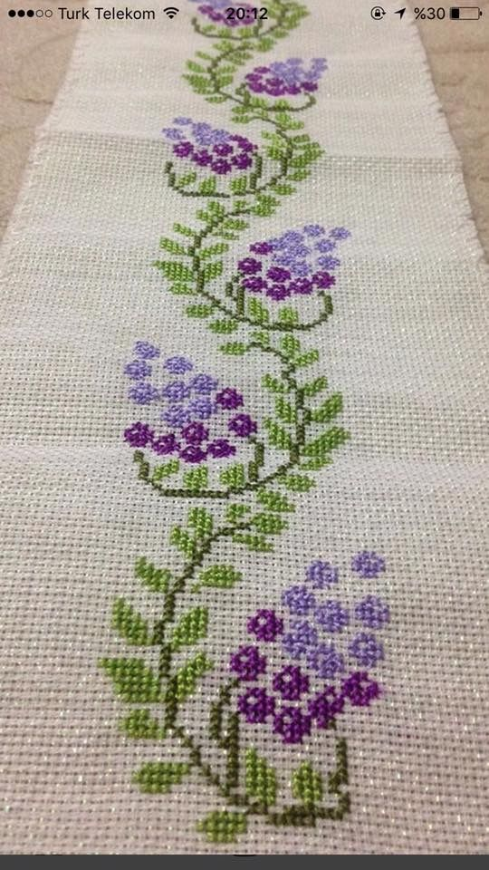 Purple flowers [] #<br/> # #Purple #Flowers,<br/> # #Cross #Stitch,<br/> # #Embroidered #Tablecloths,<br/> # #Cross #Stitch<br/>