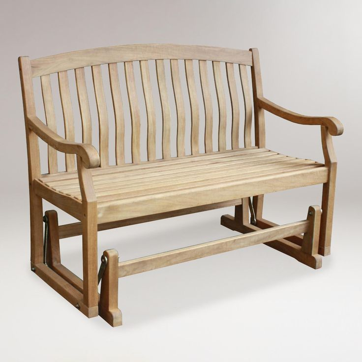 Teak Glider Bench World Market Too Deep But Great Alternative Seating Along Side Out Of