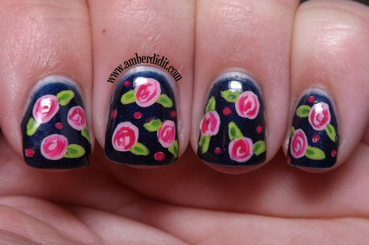 Gel Color by OPI Russian Navy with Flower Nail Art.