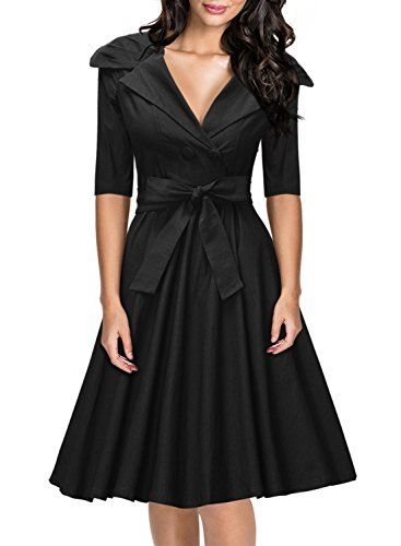 Missmay® Womens Classy 1950's V-neck Rockabilly Swing Bridesmaid Dress Black - http://darrenblogs.com/2015/11/missmay-womens-classy-1950s-v-neck-rockabilly-swing-bridesmaid-dress-black/