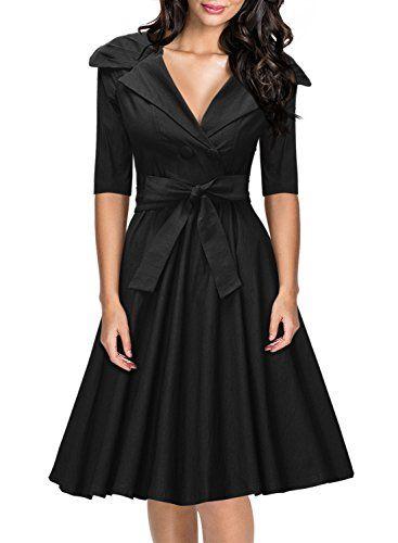 Missmay® Womens Classy 1950's V-neck Rockabilly Swing Bridesmaid Dress Black - http://darrenblogs.com/2015/11/missmay-womens-classy-1950s-v-neck-rockabilly-swing-bridesmaid-dress-black/