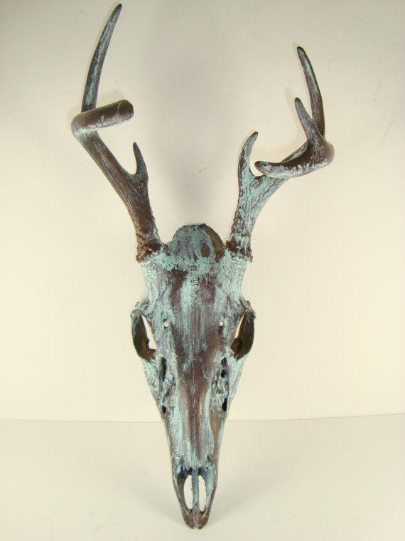Bronze Natural Patina Deer Skull Art by MayaJadeCreations on Etsy, $165.00